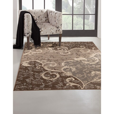 Odara Grey/ Chocolate Viscose Area Rug by Greyson Living - 5'3 x 7'6