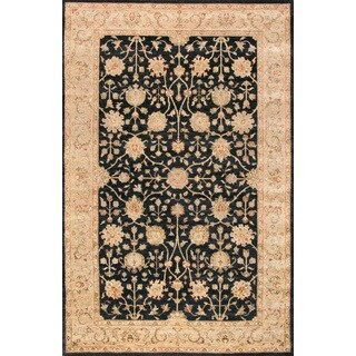 ABC Accent Hand-knotted Ziegler Black Wool Rug (6' x 9')