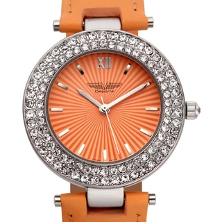 Deporte Women's Valencia Crystal-studded Bezel Textured Dial Watch with Orange Leather Strap