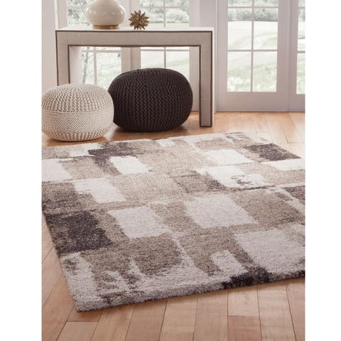 "Amare Chocolate/ Ivory/ Tan Olefin Area Rug by Greyson Living - 5'3"" x 7'9"""