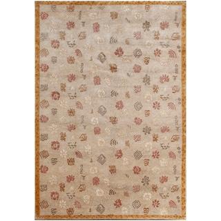 ABC Accent Tibetan Armani Beige Wool and Silk Rug (9' x 12')