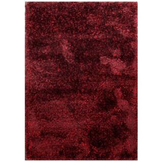 ABC Accent Shag Burgundy Handmade Rug ( 4' x 6')