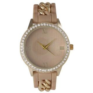 Olivia Pratt Silicone Chain Rhinestone Boyfriend Watch