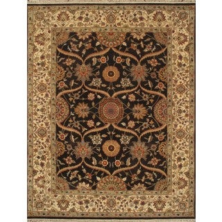 ABC Accent Mugal Hand-knotted Chocolate Wool Rug (8' x 10')