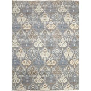 Super Fine Oushak Shahnaz Grey Hand-knotted Rug (8'11 x 12'1)