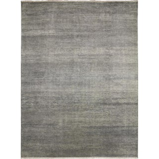Super Fine Grass Vassy Silver Hand-knotted Rug (9' x 12')