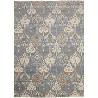 Super Fine Oushak Tariqa Grey Hand-knotted Rug (9' x 12'3)