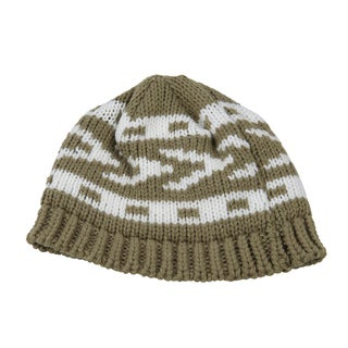 White and Green Toddler Knitted Beanie
