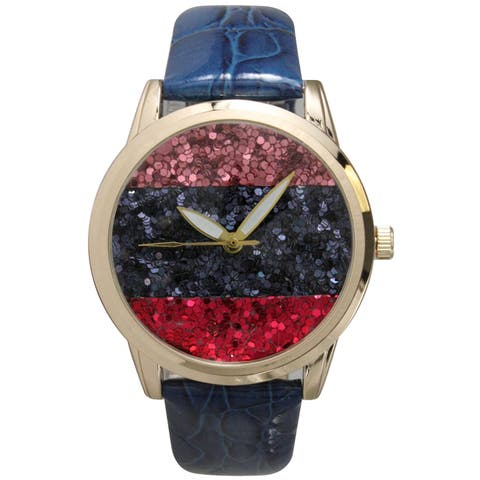 Olivia Pratt Geometric Sparkle Embossed Women's Leather Watch