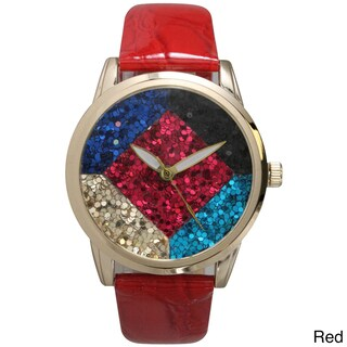 Olivia Pratt Geometric Sparkle Embossed Women's Leather Watch (Option: Red)