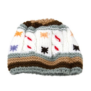 Toddler Knit White Snow Flake Beanie