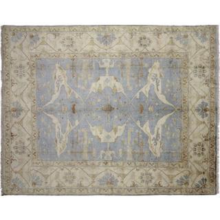 Fine Oushak Sholeh Blue Hand-knotted Rug (8' x 10'1)