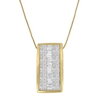 14k Yellow Gold 1 3/8ct TDW Princess Baguette Diamond Pendant (H-I,S1-S2)