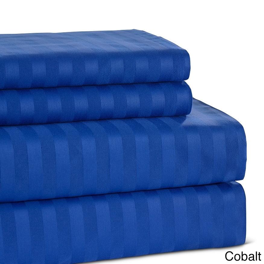 damask stripe cotton 500 thread count sheet set ebay. Black Bedroom Furniture Sets. Home Design Ideas