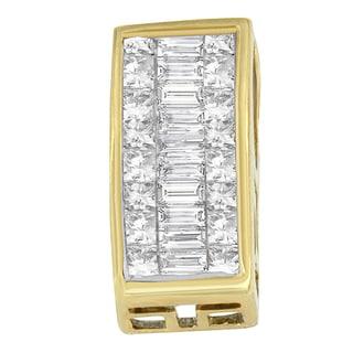 14k Yellow Gold 7/8ct TDW Princess Baguette Diamond Pendant (H-I,SI1-SI2)