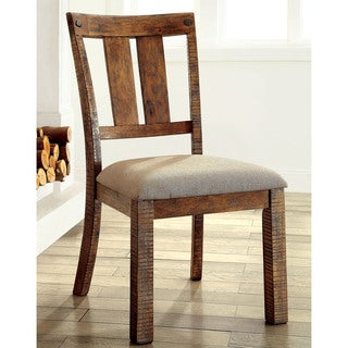 Furniture of America Polson Country Style Medium Oak Side Chair (Set of 2)