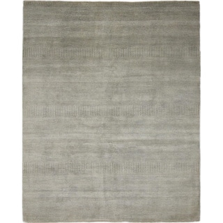 Super Fine Grass Roshni Green Hand-knotted Rug (7'10 x 9'6)
