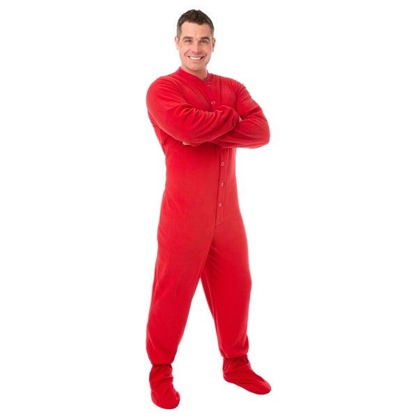 Big Feet PJs Red Micro-polar Fleece Adult Footed Pajamas w/ Drop Seat