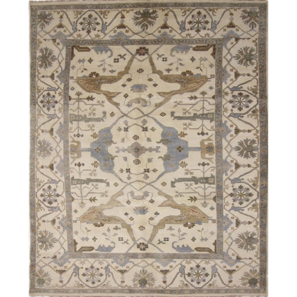 Fine Oushak Parveneh Ivory Hand-knotted Rug (7'10 x 10'3)