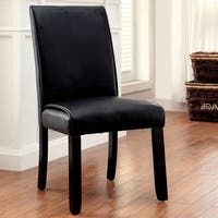 Furniture of America Jared Contemporary Black Leatherette Dining Chair (Set of 2)