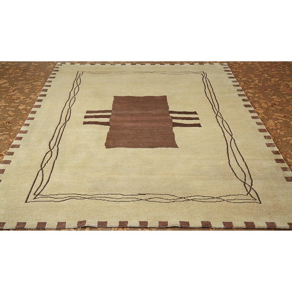 Shop ABC Accent Tibetan Hand-knotted Modern Beige Wool And