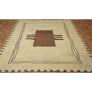 ABC Accent Tibetan Hand-knotted Modern Beige Wool and Silk Rug (6' x 9')