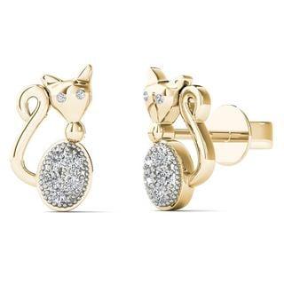 10k Yellow Gold Diamond Accent Cute Cat Stud Earrings