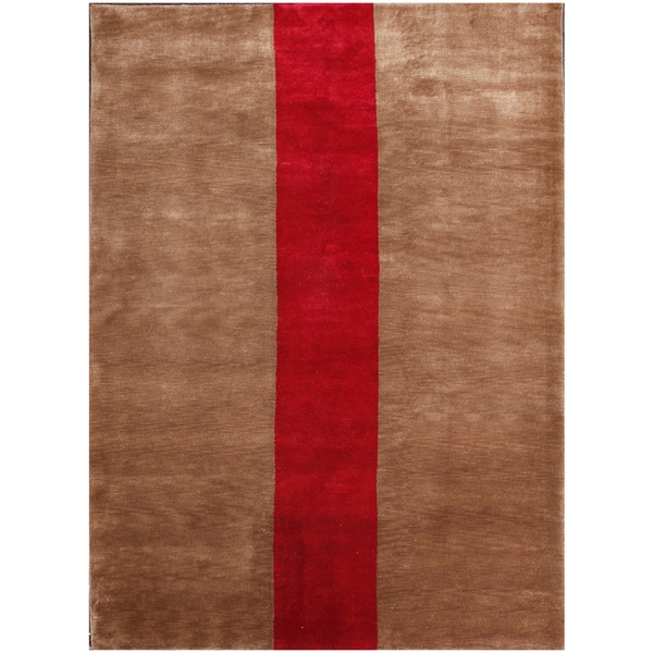 Shop ABC Accent Tibetan Modern Simple Brown Wool Rug