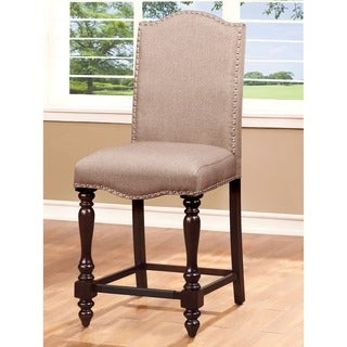 Furniture of America Edella Ivory Linen-like Fabric Counter Height Chair (Set of 2)