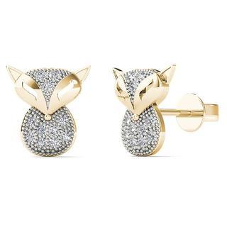 10k Yellow Gold Diamond Accent Owl Stud Earrings (H-I, I1-I2)