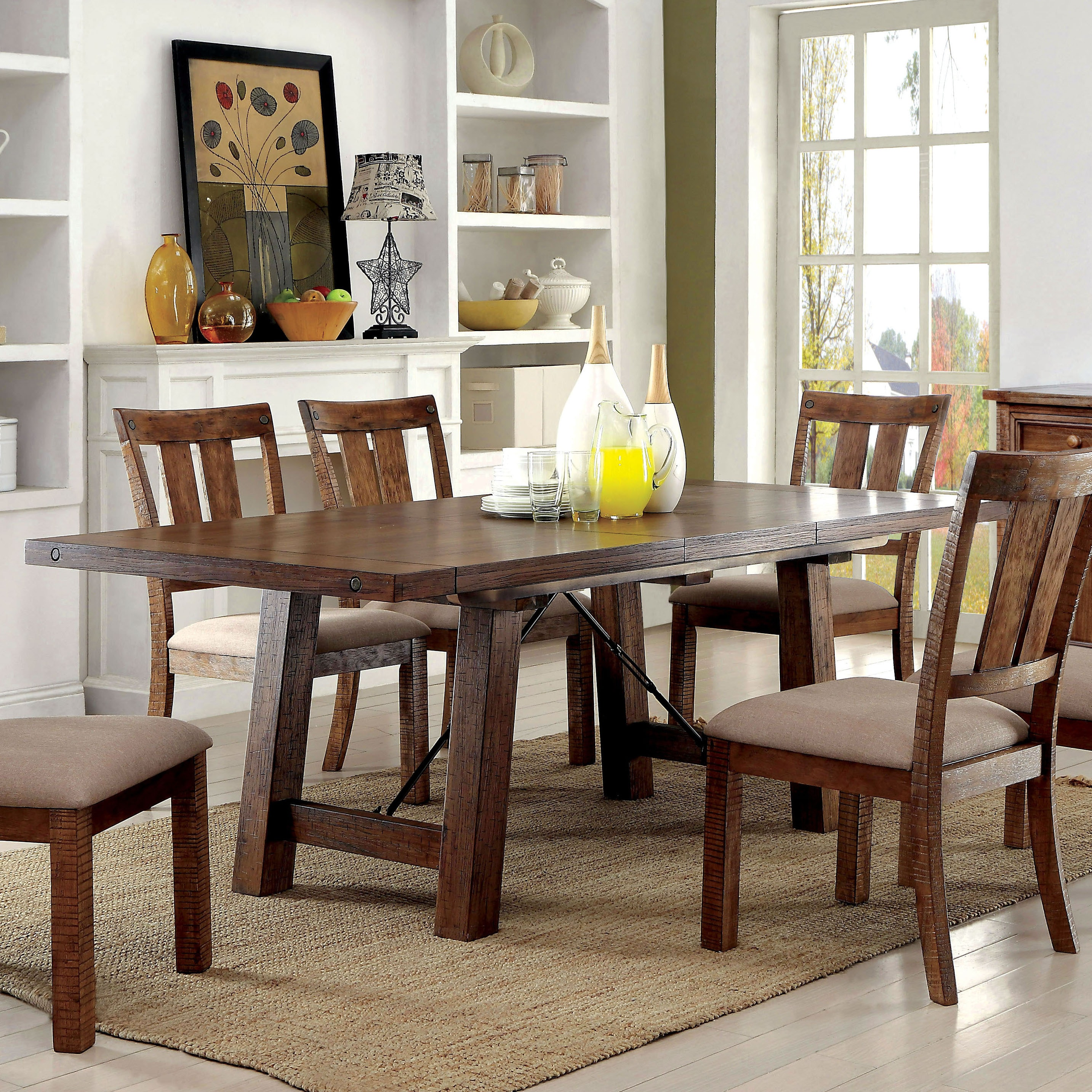 Shop Black Friday Deals On Furniture Of America Polson Country Style Medium Oak Dining Table With 18 Inch Leaf Overstock 11443608