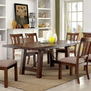 Furniture of America Polson Country Style Medium Oak Dining Table with 18-inch Leaf
