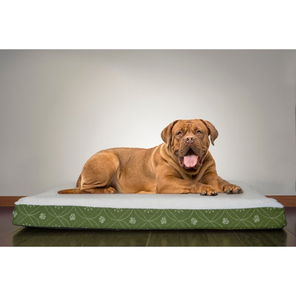 FurHaven Faux Sheepskin and Printed Flannel Deluxe Orthopedic Pet Bed