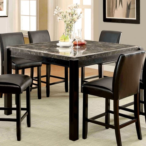 Furniture of America Jared Genuine Marble Top Counter Height Dining Table - Black