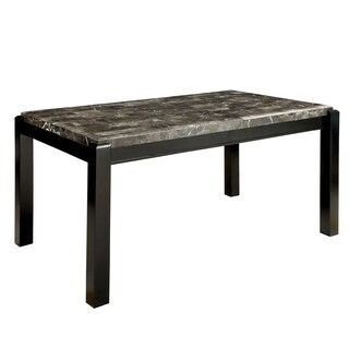 Furniture of America Jared Genuine Marble Top Dining Table - Black
