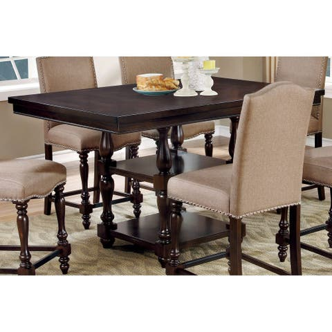 Furniture of America Ketz Classic Cherry Solid Wood Counter Table