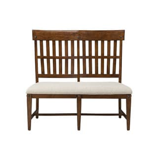 Wolf Creek Vintage Acacia Slat Back Bench w/ Cushion