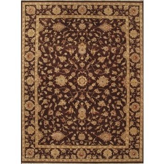 ABC Accent Ziegler Hand-knotted Brown Wool Floral Rug (4' x 6')