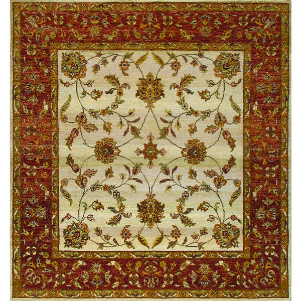 Shop ABC Accent Sultanabad Hand-knotted Beige Wool Rug (4