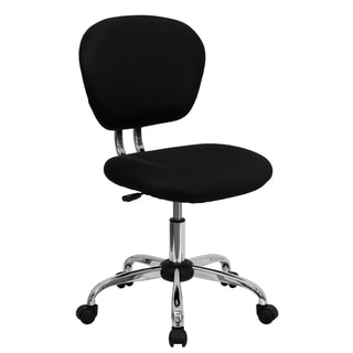 Rigmos Armless Black Mesh Swivel Adjustable Office Chair with Chrome Base