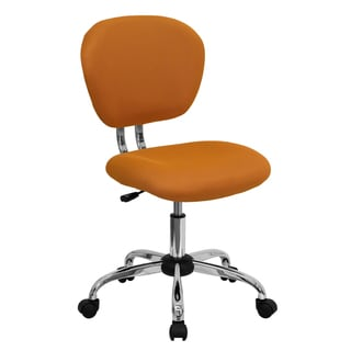 Rigmos Armless Orange Mesh Swivel Adjustable Office Chair with Chrome Base