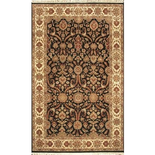 ABC Accent Jaipur Sultan Hand-knotted Black Wool Rug (4' x 6')