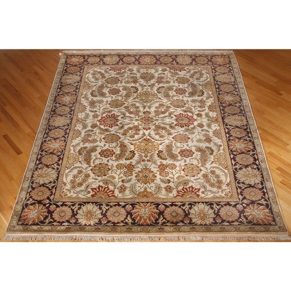 ABC Accent Jaipur Mahal Hand-knotted Beige Wool Rug (4' x 6')