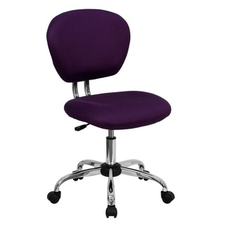 Rigmos Armless Purple Mesh Swivel Adjustable Office Chair with Chrome Base