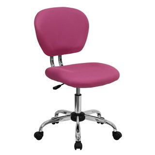 Rigmos Armless Pink Mesh Swivel Adjustable Office Chair with Chrome Base