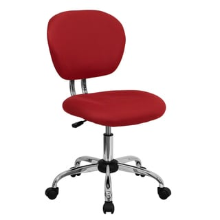 Rigmos Armless Red Mesh Swivel Adjustable Office Chair with Chrome Base