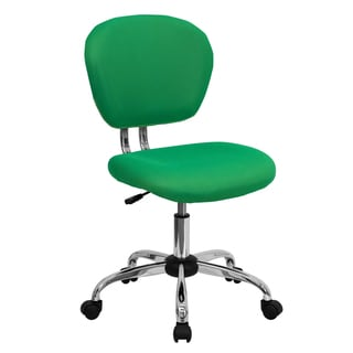 Rigmos Armless Bright Green Mesh Swivel Adjustable Office Chair with Chrome Base
