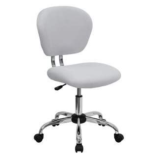 Rigmos Armless White Mesh Swivel Adjustable Office Chair with Chrome Base