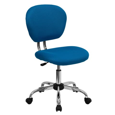 Rigmos Armless Turquoise Mesh Swivel Adjustable Office Chair with Chrome Base