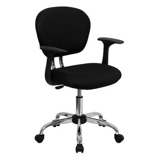 Rigmos Black Mesh Adjustable Swivel Office Chair with Arms and Chrome Base